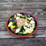 Early July Market Salad on Wooden Table