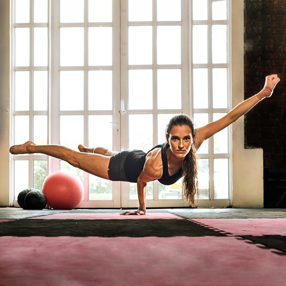 Girl doing yoga power pose